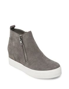 31efa22065f Steve Madden - Wedgie Zipped Suede Sneakers 8.5 Steve Madden Sneakers