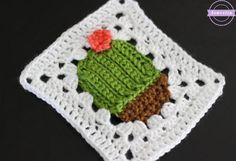 Omg a little cactus granny square 🌵😍: Succulent Cacti Crochet Granny Square Crochet Blocks, Granny Square Crochet Pattern, Crochet Squares, Easy Crochet Patterns, Crochet Granny, Crochet Motif, Crochet Stitches, Free Crochet, Blanket Crochet