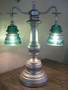 Antique Glass Art Original Telegraph Glass Insulator Table Lamp GR8 History | eBay