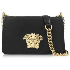 Versace Palazzo Black Nappa Leather Shoulder Bag ($2,385) ❤ liked on Polyvore featuring bags, handbags, shoulder bags, black handbags, black evening shoulder bag, cocktail purse, chain shoulder bag and flap handbags