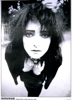 A fantastic portrait poster of Siouxsie Sioux of Siouxsie and the Banshees in London in 1981! There's no one quite like her in all of rock. Ships fast. 23x33 inches. Need Poster Mounts..? bm8091