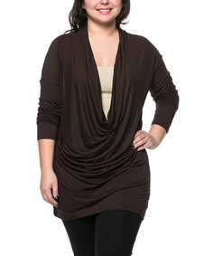 Another great find on #zulily! Brown Draped Tunic - Plus by Celeste #zulilyfinds