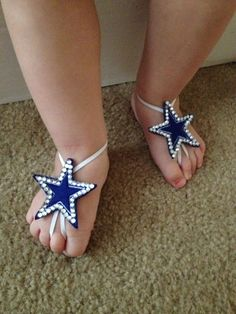 Dallas Cowboys inspired barefoot sandals  on Etsy, $16.00