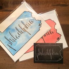Cricket Lane Studio handpainted watercolor prints and chalkboard style postcards.. Available exclusively at Philadelphia Independents in Old City! <3