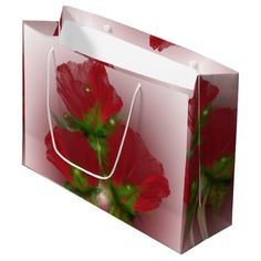 "Poppies Large Gift Bag Artwork designed by karlajkitty. Made by Digiwrap. Sold by Zazzle  Fractal Poppies all around the bag.  Shown on a white background.  Click on the ""Customize"" button for more options.  Artwork and design by Karlajkitty"