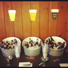 Decoration: Beer tasting table ideas -  galvanized metal tubs, sorted from light to dark brews