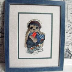 "Finished work by pattern ""Bunny sailor boy"" #sa_stitch #sa_pattern #pattern #crossstitch #bunny #embroidered_work"