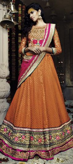BURNT ORANGE: check out this shade in your bridal wear. Shop at flat 15% off.  #IndianWedding #Bridalwear #lehenga