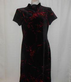 Dressbarn KIMONO Dress Formal Maxi Size 10 Black Red Holiday Bodycon Stretch #dressbarn #Christmasdress #Festive
