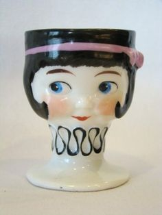 Vintage 1920s Goebel Porcelain Egg Cup Googly Eyed Girl Felt Cap Bee Mark  - She's the same as way below, without her hat.