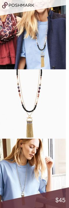 """Genevieve Tassel Necklace Stella & Dot NEW! Genevieve Tassel Necklace by Stella & Dot brand new! Semi-precious amethyst, sun stone, rose agate, and grey agate beads create a beautiful stationary strand. This versatile piece mixes the movement of a vintage gold tassel with a beaded strand. Wear all together or each strand separately. 3 & 1 ways to wear this piece! Ships fast! Comes from a Smoke free home!   Vintage Gold Plating 30 1/2"""", 31"""" with 2"""" Extender Lobster Clasp Closure Stella & Dot…"""