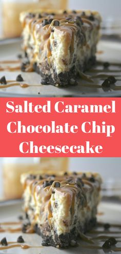 Drizzle Carmel instead of pouring over and no chocolate chips inside cheesecake Salted Caramel Cheesecake, Chocolate Chip Cheesecake, Cheesecake Recipes, Dessert Recipes, Salted Caramel Chocolate, Chocolate Caramels, Homemade Chocolate, Chocolate Chips, Quick Recipes