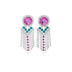 Alessandra Rich     Fuxia Crystal Fringe Earrings (10.900.790 VND) ❤ liked on Polyvore featuring jewelry, earrings, alessandra rich, crystal jewellery, earring jewelry, green earrings and crystal stone jewelry