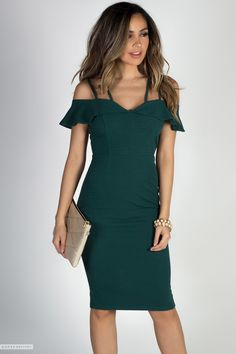 Strappy Off Shoulder Ruffled Flutter Sleeve Green Midi Cocktail Sheath Dress