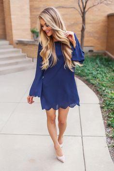 Navy Chiffon Scallop Hem Shift Dress - Dottie Couture Boutique Sweet Style, My Style, Dottie Couture Boutique, Scalloped Hem, Types Of Fashion Styles, Chiffon, Summer Dresses, Lifestyle, Armoire