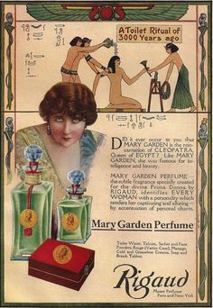 Vintage Perfume ad Mary Garden Cleopatra Egypt print Antique 1910s