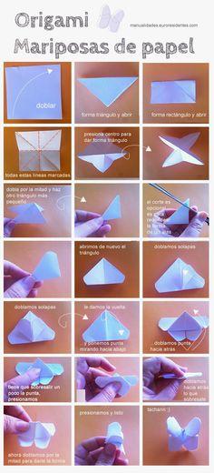 Origami: mariposas de papel Como hacerlo?. sigue los pasos en www.hagamoscosas.com y siguenos en facebook: https://www.facebook.com/hagamoscosas