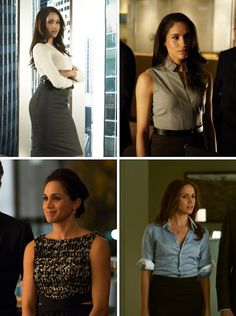 Love the outfit in upper right corner - Suits on USA - Rachel Zane. A lot of high waisted numbers.