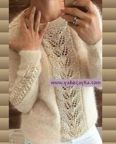 Knitting Patterns Mohair Mohair pullover with beautiful centering . Crochet Baby Poncho, Crochet Lace Edging, Knit Crochet, Knitting Stiches, Lace Knitting, Knitting Patterns Free, Loom Scarf, Diy Crafts Knitting, Mohair Sweater
