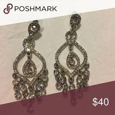 Rhinestone chandelier earrings Worn once - excellent condition. Jewelry Earrings