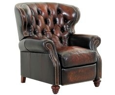 Arthur Old World Chesterfield Style Wingback Leather Recliner for Home Office (Prayer Chair, Listening Chair, and Reading Chair)