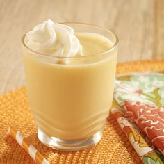 A smoothie recipe made with creamy vanilla pudding, ripe fresh peaches and orange juice for a cool summer treat