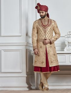 Beige and maroon color silk sherwani Indian Wedding Poses, Wedding Dresses Men Indian, Wedding Dress Men, Indian Wedding Photography, Wedding Wear, Wedding Groom, Photography Couples, Indian Bridal, Digital Photography