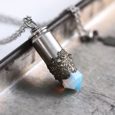 Crushed Pyrite Opalite Crystal Necklace at shanalogic.com