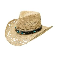 Women's Silverado Evelyn ($51) ❤ liked on Polyvore featuring accessories, hats, green, straw cowgirl hats, brimmed hat, band hats, american straw hats and cowgirl hats