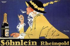 Art Poster: #FreeShipping Rheingold 1914 Vintage Champagne Advertising Reproduction Canvas Print 30X20