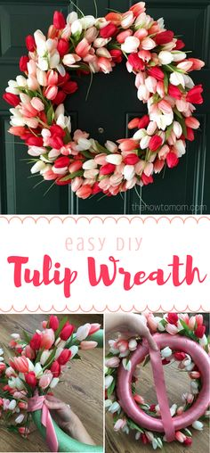 Tulip Wreath DIY Gorgeous and Easy Easy DIY Tulip Wreath Gorgeous spring wreath! The post Tulip Wreath DIY Gorgeous and Easy appeared first on Summer Diy. Wreath Crafts, Diy Wreath, Decor Crafts, Home Decor, Wreath Ideas, Wreath Making, Diy Gifts For Christmas, Holiday Crafts, Holiday Decor