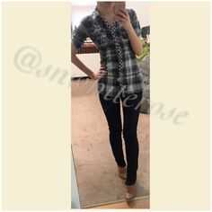 Embellished Plaid Button Down Top Plaid button top. Chest pocket on one side and subtle embellishment at the other. Waist tie to customize the fit. Can also fit an extra small. Tops Button Down Shirts