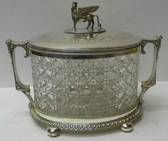 victorian biscuit jar | Victorian Silver Plate and Crystal Biscuit Jar
