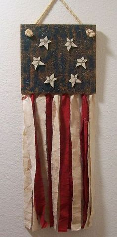 Prim of July or Memorial Day Americana Crafts, Patriotic Crafts, July Crafts, Primitive Crafts, Summer Crafts, Holiday Crafts, Wood Crafts, 4th Of July Decorations, Americana Decorations