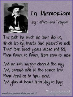 In Memoriam, By : Alfred Lord Tennyson Alfred Lord Tennyson, Love Poems, Book Lovers, Period, Singing, Poetry, Romantic, Books, Poems Of Love