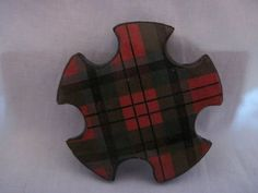 Rare Antique Scottish (Mauchline) Tartan- Ware Snowflake Shaped Wood Silk Thread Winder