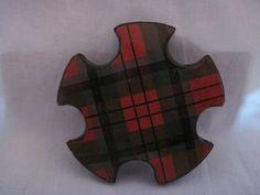Rare Antique Scottish (Mauchline) Tartan- Ware Snowflake Shaped Wood Silk Thread Winder