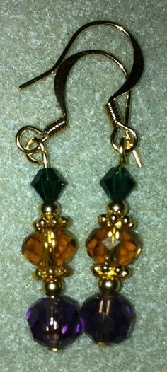 Mardi Gras Earrings Purple Gold and Green by jeannestiles on Etsy, $10.00