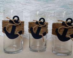 Set of 3 Nautical Vase Centerpieces - Anchor Navy Boating Boat Coastal Wedding. Set of 3 Nautical Coastal Wedding Centerpieces, Nautical Centerpiece, Baby Shower Centerpieces, Anchor Wedding Decorations, Diy Centerpieces, Cincinnati, Baby Shower Marinero, Anchor Baby Showers, Sand Candles