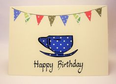 Tea cup calligraphy birthday card by QuillPaperScissors on Etsy