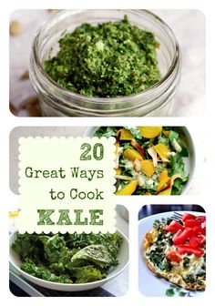 20 Fantastic Kale Recipes- Kale is THE best super food. Kale Recipes, Vegetable Recipes, Real Food Recipes, Vegetarian Recipes, Cooking Recipes, Healthy Recipes, Cooking Kale, Cooking Tips, Recipies