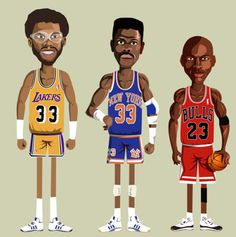 "finofilipino: "" Serie de ilustraciones del artista 'Noble' titulada NBA Legends. Se trata de ilustraciones muy bien trabajadas de figuras como Kareem Abdul Jabbar, Patrick Ewing, Michael Jordan, Magic Johnson, Scottie Pippen, Shaquille O'Neal,..."