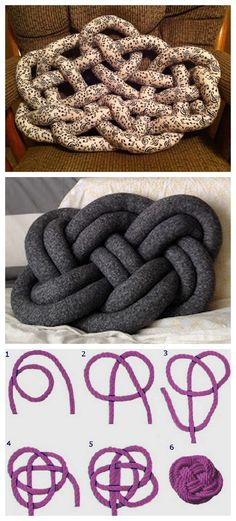 "DIY Celtic Knot Pillow Tutorial from Cut Out + Keep here. ""The Witness to Your Splendor"" celtic knot is used for this pillow. Mainly posting because the bottom pillow tutorial from Seymour here was taken down at the request of artist Ragnheiður Ösp who ma Sewing Crafts, Sewing Projects, Sewing Art, Crochet Projects, Knot Pillow, Heart Pillow, Knot Cushion, Pillow Tutorial, Diy Tutorial"
