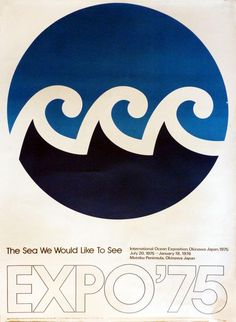 "Expo '75 poster featuring the event's logo, a very dynamic design that echoes the exposition's theme: ""The Sea We Would Like To See."""