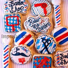 Barber shop cookies picture only Daddy Birthday, Disney Birthday, Grad Parties, 1st Birthday Parties, Birthday Cakes, Barber School, Cookie Pictures, Grand Opening Party, Fancy Cupcakes