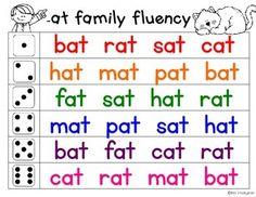 Fluency Families Roll & Read {short vowels} by Miss Kindergarten Love Phonics Flashcards, Phonics Words, Phonics Worksheets, Reading Worksheets, Cvc Words, Kindergarten Reading Activities, Phonics Reading, Teaching Phonics, Teaching Reading
