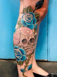 Skull and rose leg tattoo - 50 Incredible Leg Tattoos