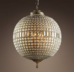 Casbah Crystal Chandelier Large from Restoration Hardware. They say moroccan, I say classy disco ball. Crystal Sphere, Faceted Crystal, Crystal Ball, Glass Crystal, Home Lighting, Lighting Design, Lighting Ideas, Bedroom Lighting, Kitchen Lighting