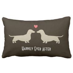 Dachshund Silhouettes with Heart and Text Throw Pillows - $55.95 on zazzle