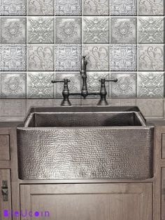 """Tile Stickers Waterproof Transfers Kitchen Bathroom Silver Chrome 24 Pieces 6/"""""""